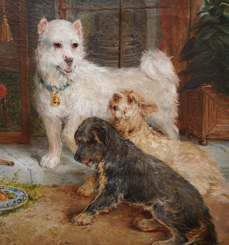 Interior Scene with Dogs - British Victorian art Dog portrait oil painting - Black Animal Painting by Edwin Frederick Holt