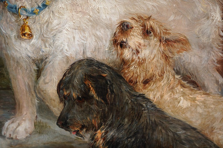 This lovely British Victorian oil painting is by noted animal artist Edwin Frederick Holt. Painted in 1885 the portrait is of three dogs in an interior, sat before a plate of bones. The different personalities and behaviours are clearly shown in