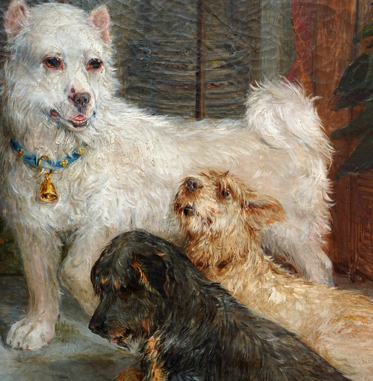 Interior Scene with Dogs - British Victorian art Dog portrait oil painting For Sale 1
