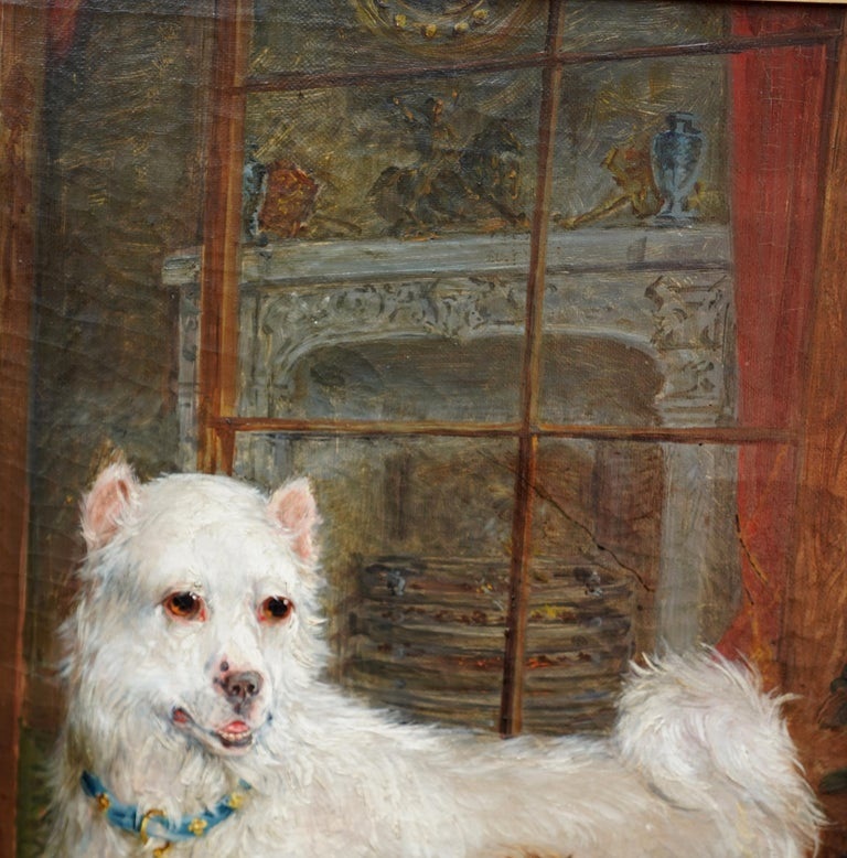 Interior Scene with Dogs - British Victorian art Dog portrait oil painting For Sale 3