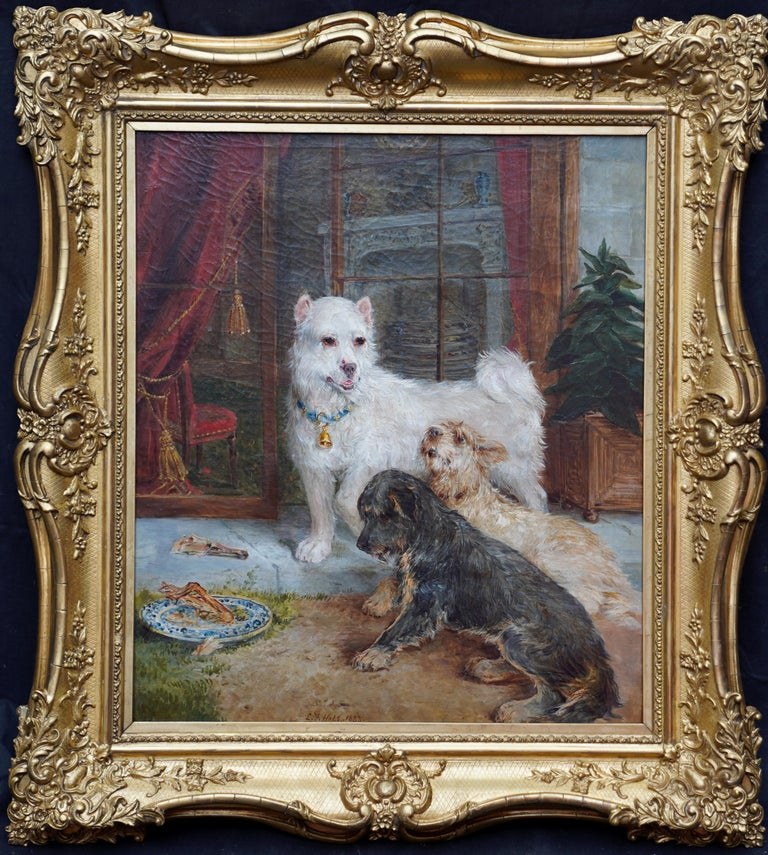 Edwin Frederick Holt Animal Painting - Interior Scene with Dogs - British Victorian art Dog portrait oil painting