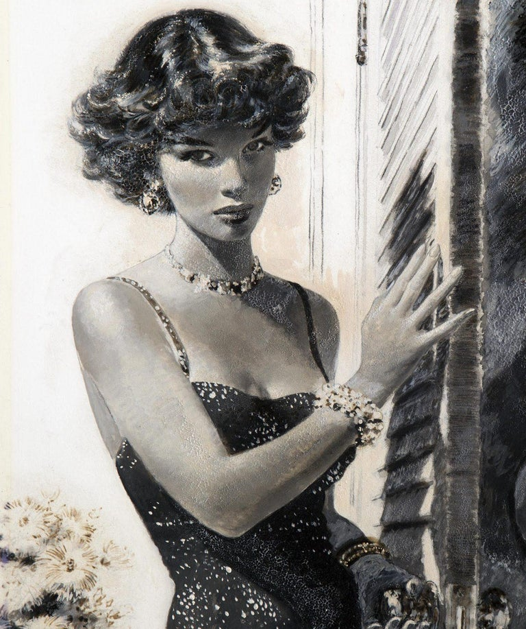 Girl from the Mimosa Club, Part II - Black Figurative Painting by Edwin Georgi