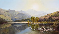 Morning in North Wales - V Large 19th Century Exhibition Landscape Oil Painting