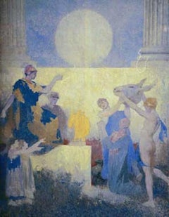 Midsummers Night Dream  Large oil painting as a Mural in blues