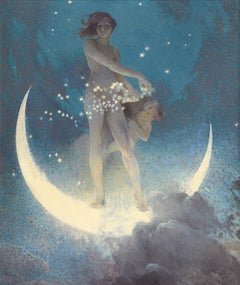 Spring Scattering Stars, Nude allegory scattering stars from a crescent moon