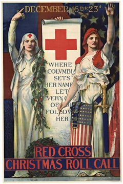 Red Cross Christmas Roll Call original World War 1 vintage lithographic poster