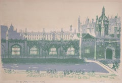 Edwin La Dell Cambridge King's College from Copper Kettle Signed Lithograph