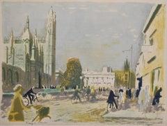 Edwin La Dell King's Parade Cambridge Signed Lithograph print College Senate Ho.