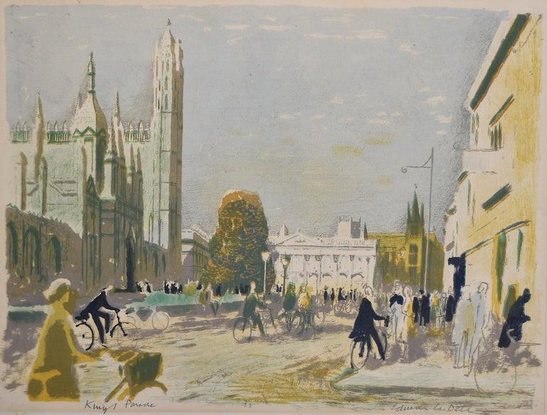 Edwin La Dell King's Parade Cambridge Signed Lithograph print College Senate Ho. - Print by Edwin La Dell