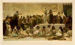 """Babylonian Marriage Market,"" Signed Antique Print"