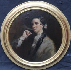 Matilda Wetherall Smoking a Cigarette - British Victorian Portrait oil painting