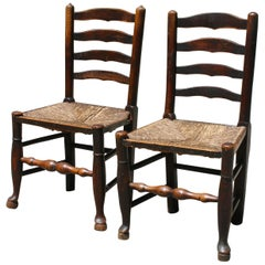Edwin Lutyens Style English Ash & Alder Ladder Back Side Chairs
