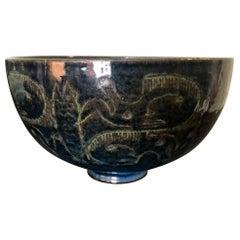 Edwin & Mary Scheier Signed Midcentury Glazed Ceramic Bowl Primitive Figures