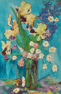 Flowers - Late 20th Century Still Life Oil Pastel by Edwin Mendoza - Figurative