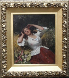 A Summer Beauty - British Victorian genre art female portrait oil painting