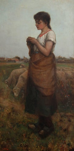 The Shepherdess - Victorian Scottish oil painting girl sheep landscape