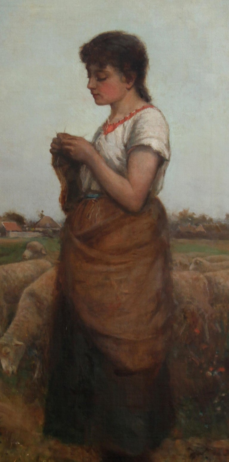 A  large Scottish  Victorian genre portrait oil painting of a shepherdess. This stunning painting by listed Scottish artist Ediwn Sherwood Calvert RSA was painted circa 1890. Taking its inspiration from Jean Franciois Millet and the French realists