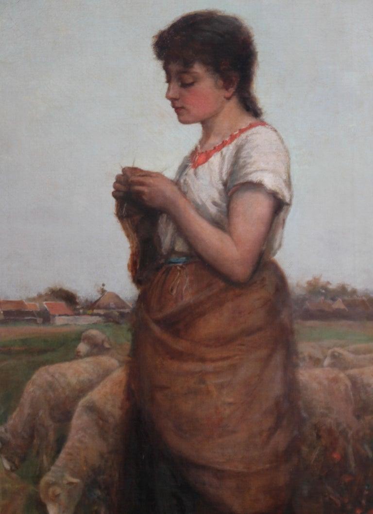 The Shepherdess - Victorian Scottish 19thC art female portrait oil painting  For Sale 1