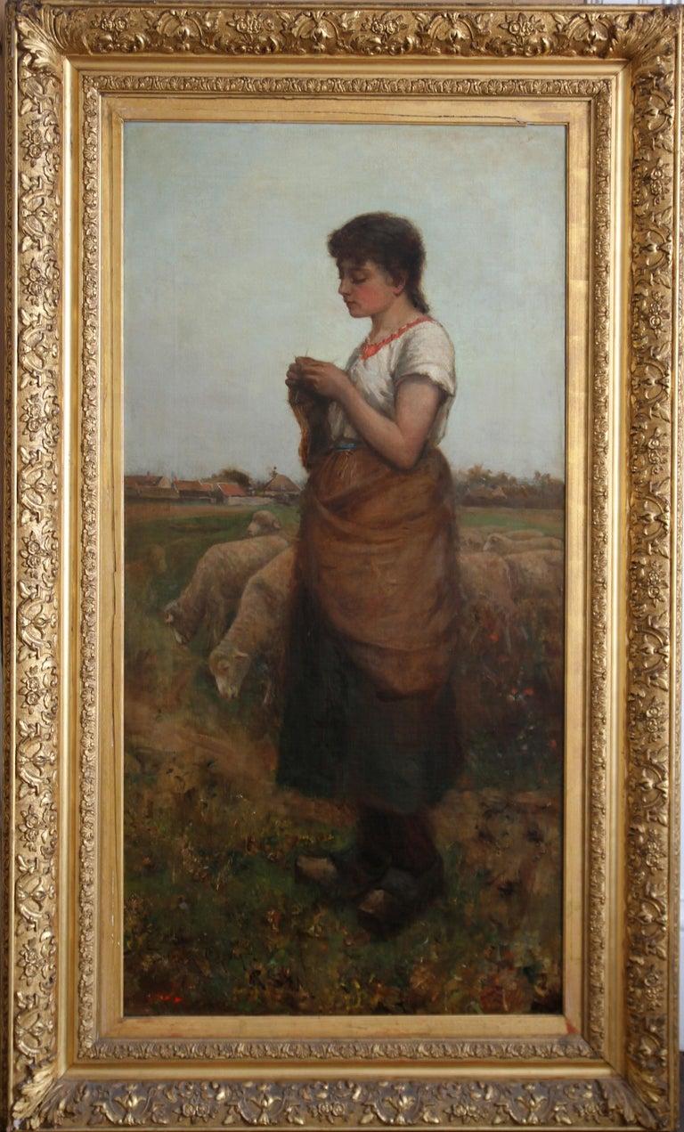 Edwin Sherwood Calvert Landscape Painting - The Shepherdess - Victorian Scottish 19thC art female portrait oil painting
