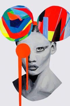 Mickey Dreams - Portrait paint, female, Portrait, figurative, original, Popart