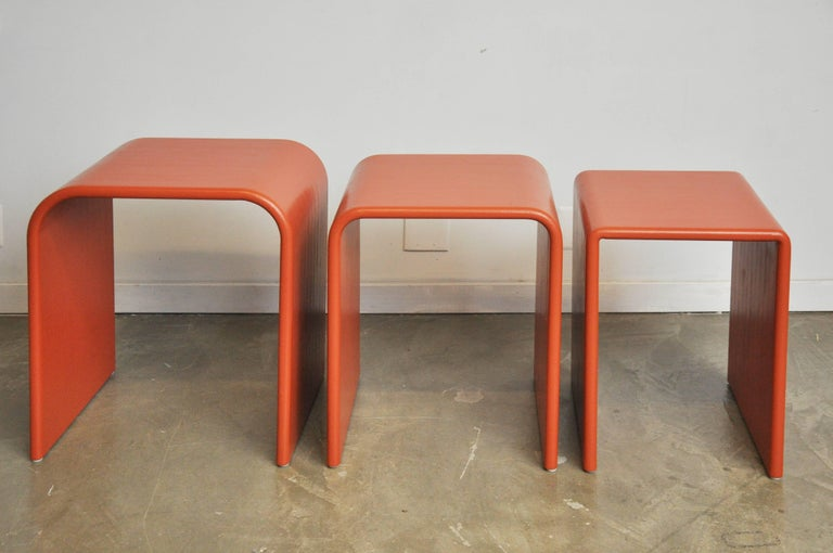 Eel Skin Nesting Tables In Excellent Condition For Sale In Chicago, IL