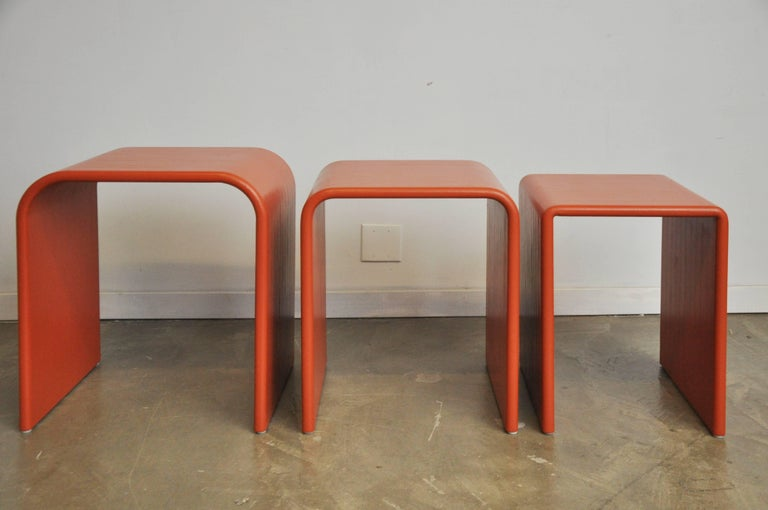 Late 20th Century Eel Skin Nesting Tables For Sale