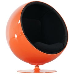 Eero Aarnio, Ball Chair by Asko, Signed 1, Edition in Bright Orange 1963 Finland