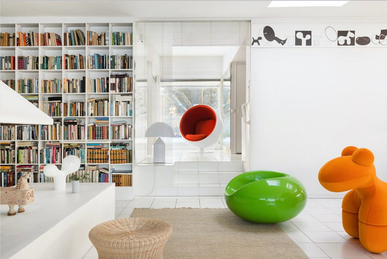 The Ball Chair was designed in 1963 and debuted at the Cologne Furniture Fair in 1966. The chair is one of the most famous and beloved classics of Finnish design and it was the international breakthrough of Eero Aarnio. The Ball Chair can be found