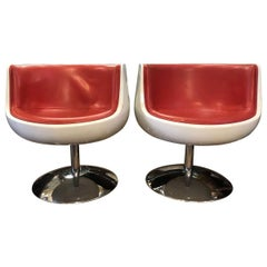 Eero Aarnio Contemporary Red Leather, Cognac and Chrome Swivel Chairs