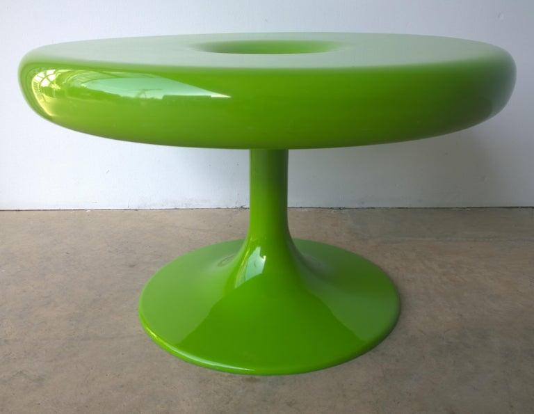 Finnish Eero Aarnio Kantarelli Molded Plastic Green Fiberglass Occasional Side Table For Sale