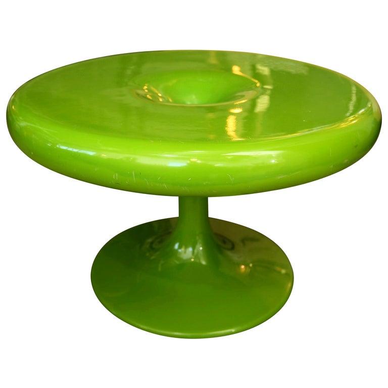 Eero Aarnio Kantarelli Molded Plastic Green Fiberglass Occasional Side Table For Sale