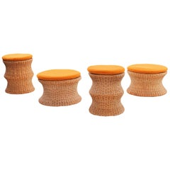 Eero Aarnio Wicker and Upholstered Ottomans or Stools