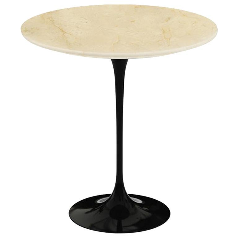 "Eero Saarinen 20"" Side Table, Polished Empire Beige Marble & Black or White Base"