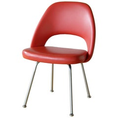 Eero Saarinen Armless Executive Chair for Knoll Associates Model 72 Red Vinyl
