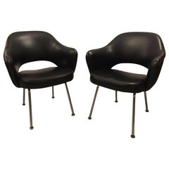 Eero Saarinen Black Vinyl Office Armchair by Knoll