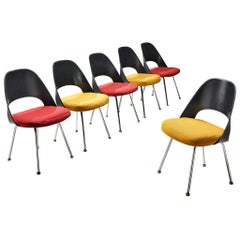 Eero Saarinen Colourful Set of 6 Dining Chairs Model '72' in Fabric Upholstery