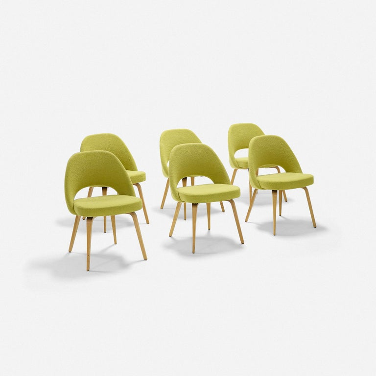 Eero Saarinen Dining chairs set of six Knoll Associates USA, 2014 oak, upholstery Measures: 22.5 W × 20.5 D × 31.5 H in.