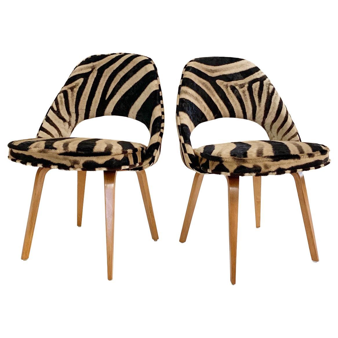 Eero Saarinen Executive Chairs in Zebra Hide, Pair