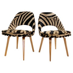 Eero Saarinen Executive Chairs in Zebra Hide, Pair