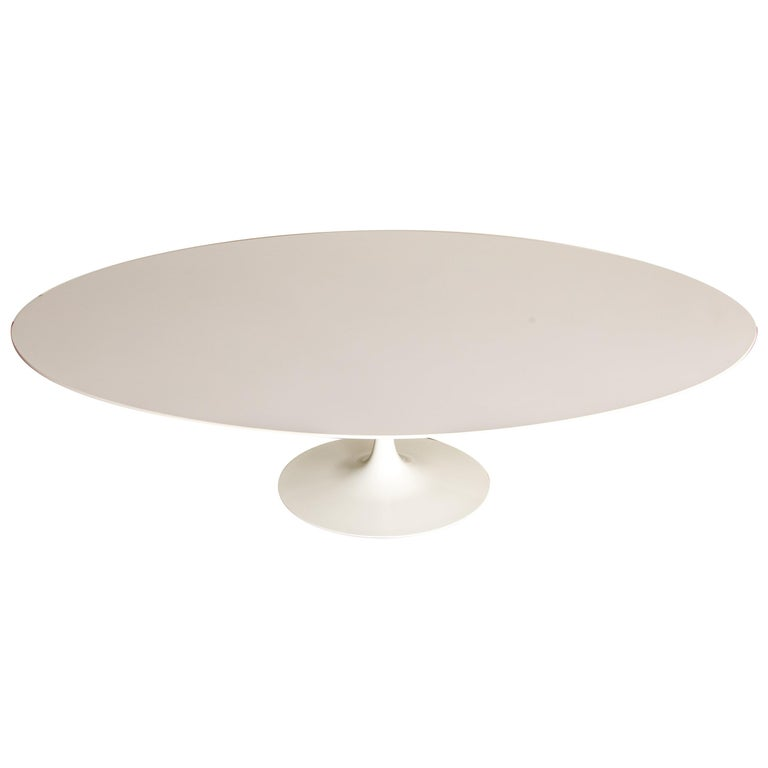 """Eero Saarinen for Knoll 96"""" Oval 'Tulip' Pedestal Dining Table, Signed For Sale"""