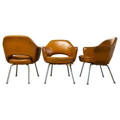 Eero Saarinen for Knoll Cognac Leather Executive Armchairs, Set of Three