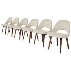 Eero Saarinen for Knoll Executive Dining Chairs in Off-White