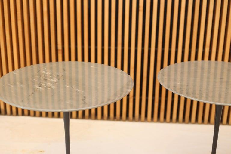 Mid-Century Modern Eero Saarinen for Knoll Gray Marble Tulip Side Tables For Sale