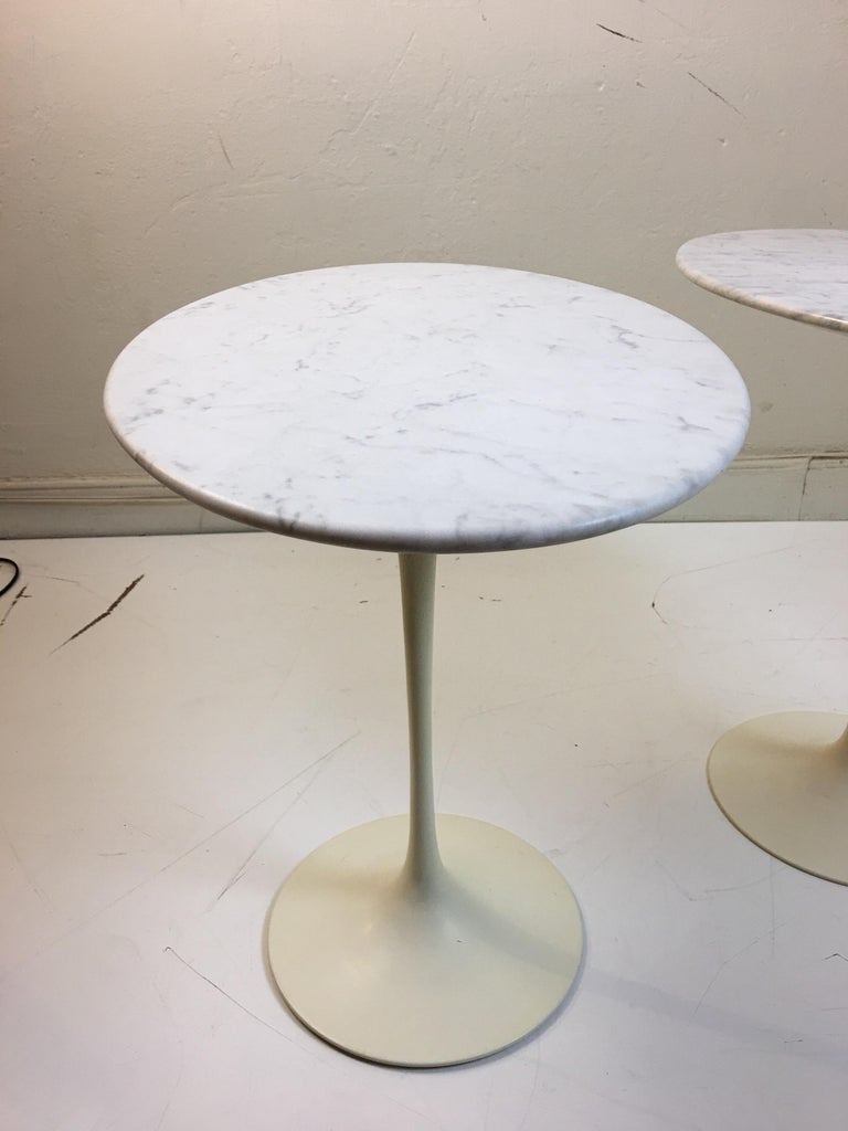 Mid-20th Century Eero Saarinen for Knoll Marble Oval Side Tables For Sale