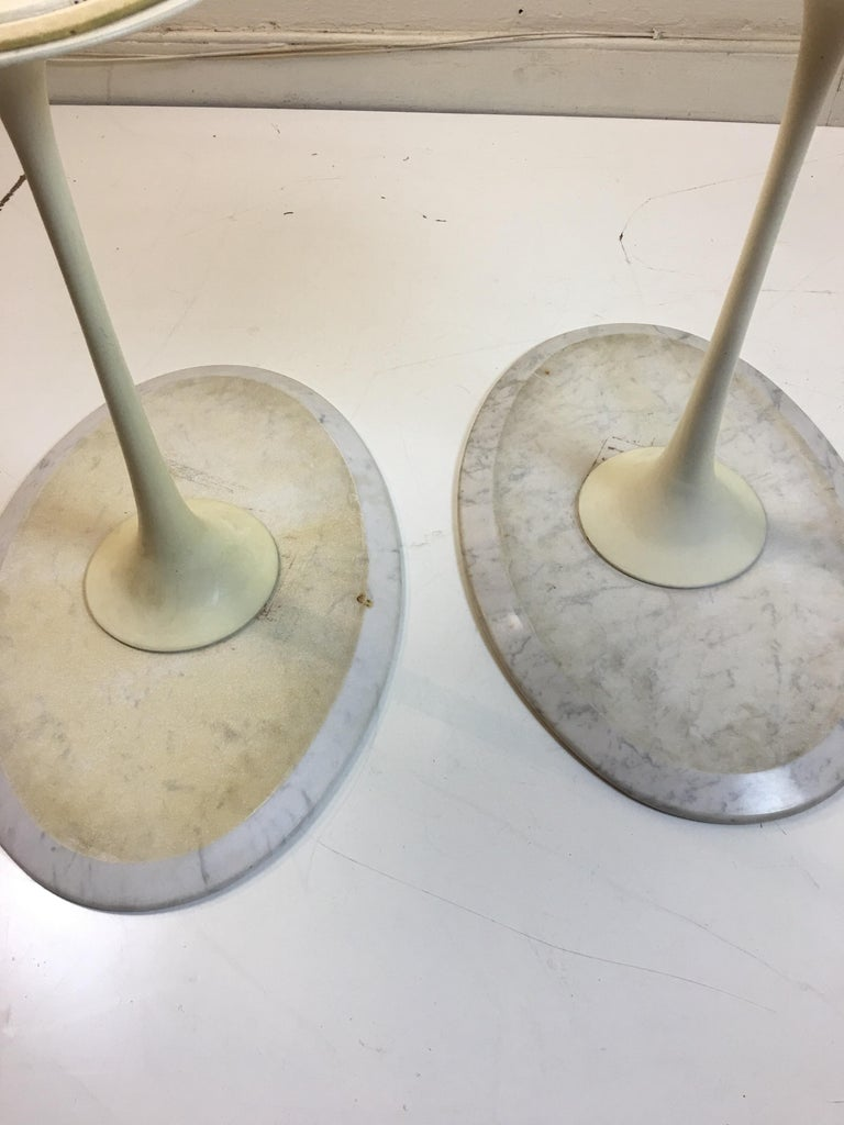 Iron Eero Saarinen for Knoll Marble Oval Side Tables For Sale