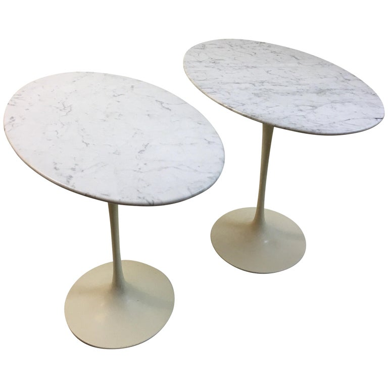 Eero Saarinen for Knoll Marble Oval Side Tables For Sale