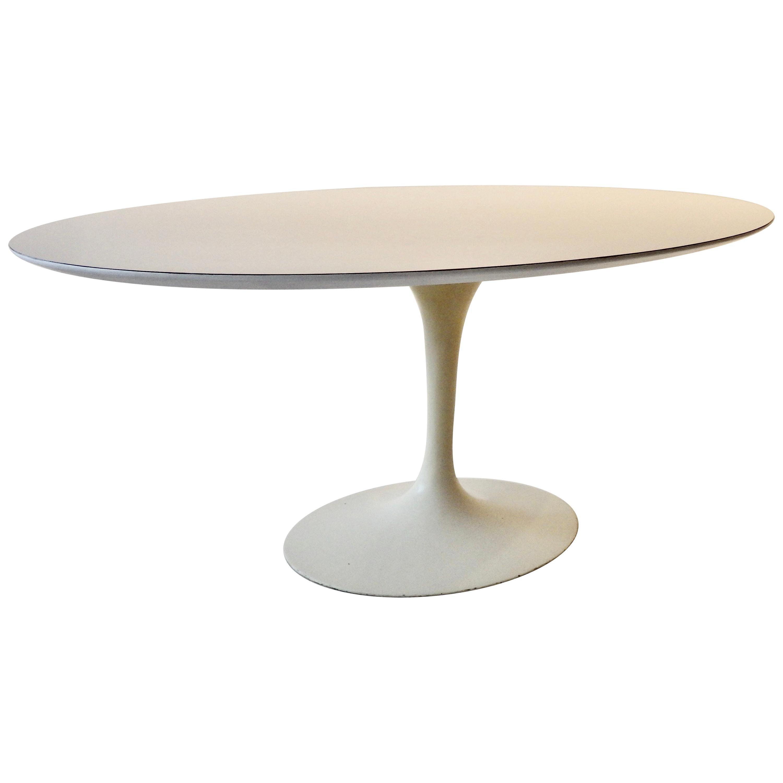 Eero Saarinen for Knoll Oval Top Tulip Dining Table Early Cast Iron Base
