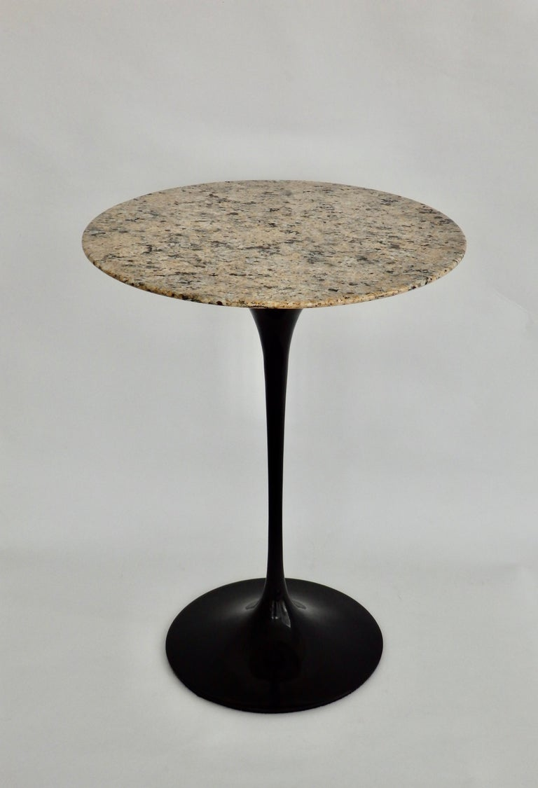 Early cast iron base Eero Saarinen table for Knoll. Base refinished in black. Table will ship with top removed.