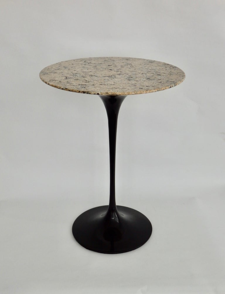 Mid-Century Modern Eero Saarinen for Knoll Tulip Group Black Cast Iron Side Table with Stone Top For Sale