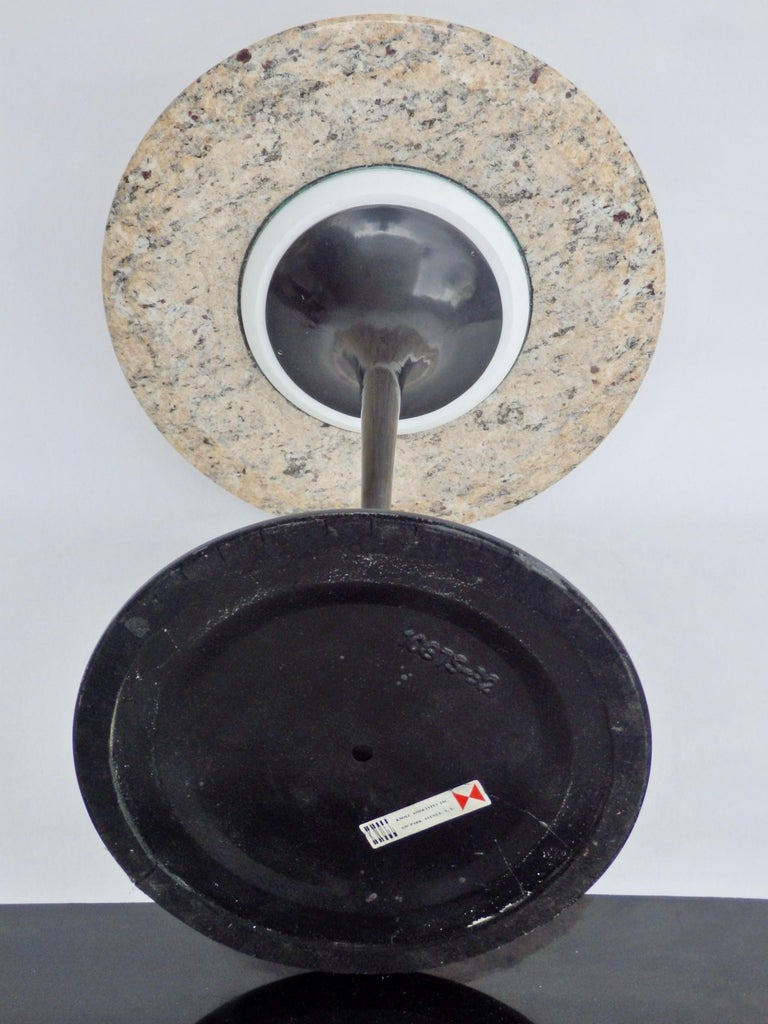 Hand-Crafted Eero Saarinen for Knoll Tulip Group Black Cast Iron Side Table with Stone Top For Sale